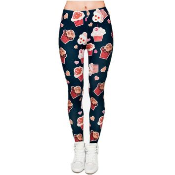 Muffins Cupcakes Leggings - Women Fitness Leggings