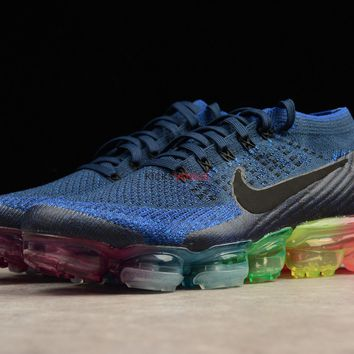 Nike Air VaporMax Be True Dark Blue Flyknit upper and a multi colored Vapormax outsole 883274 400 189 Men Sneaker