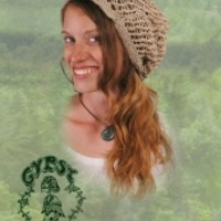 HEMP AND COTTON HEAD SOCK WITH BONE PEACE BUTTON: Gypsy Rose