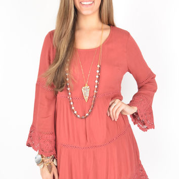 Brick Tiered Dress with Crochet Hem and Bell Sleeves