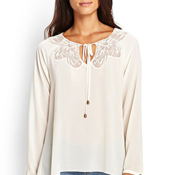 LOVE 21 Lace-Trimmed Blouse Cream