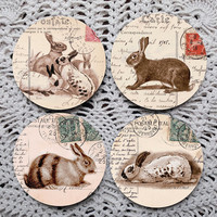 A Bevy of Bunnies -- Vintage Rabbits on Postcards Mousepad Coaster Set