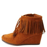 City Classified Fringe Moccasin Wedge Booties - Chestnut