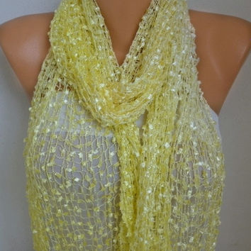 Yellow Knitted Ombre Scarf,Wedding Shawl,Graduation,Bridal Accessories,Bridesmaid Gift,Cowl, Gift Ideas For Her, Women Fashion Accessories