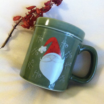 Santa Mug Vintage Green Ceramic Christmas Cup With Santa and Ho Ho Ho Holiday Coffee Tea Cocoa Mug Santa Claus Theme Gift Saint Nicholas Mug