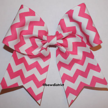 "3"" Pink and White Chevron Cheer Bow"