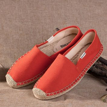 Soludos Red Canvas Platform Smoking Embroidery Slipper - Best Deal Online