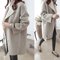Turn-down Collar Loose Cocoon Type Long Sleeves Slim Coat