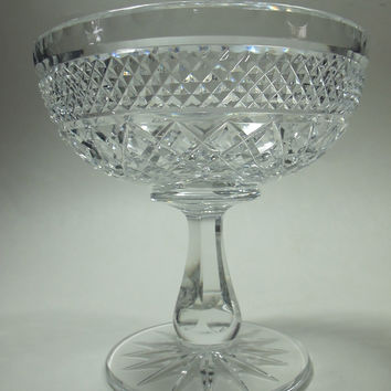 Cut compote  Cut Glass blown footed candy dish