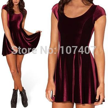 X-064 VELVET MULLED WINE EVIL CHEERLEADER 2.0 Women Clothing Party Evening Elegant Velvet Skater Dresses Pleated Dresses