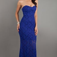 Lace Floor Length Strapless Sweetheart Dress