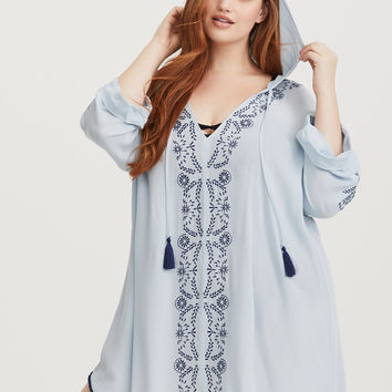 Blue Embroidered Pullover Gauze Hoodie