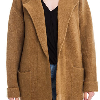 Lush Open Blazer Cardigan Sweater Jacket Camel