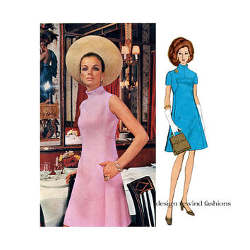 60s VOGUE DRESS PATTERN Mod Standing Collar Turtleneck Dress Molyneux Vogue 2206 Paris Original Bust 34 UNCuT Vintage Womens Sewing Patterns
