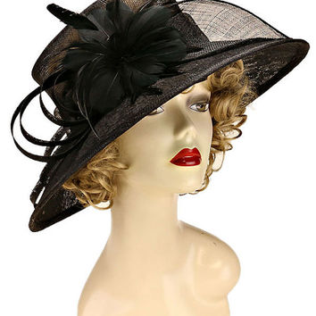 Black Feather Accented Flower & Bow Round Sinamay Hat Kentucky Derby Wedding Party Hat