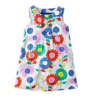 A-Line Dresses Girls Floral Clothes Children Summer Dress Princess Costume for Kids Tunic Baby Girl Dress