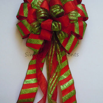 Red Green Christmas Bow Red Green Christmas Candy Canes Tree Top Bow Christmas Wreath Swag Bow Xlarge Present Bow