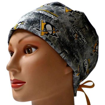 Women's Pixie Surgical Scrub Hat Cap in Pittsburgh Penguins Stanley Cup Champions