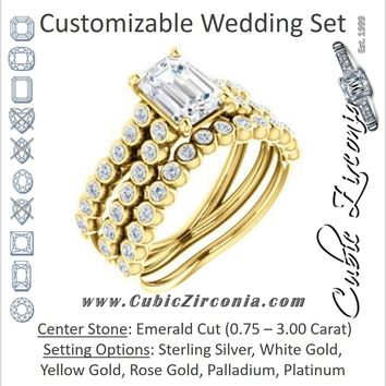 CZ Wedding Set, featuring The Roxana engagement ring (Customizable Emerald Cut Design with Beaded-Bezel Round Accents on Wide Split Band)