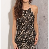 Party dresses > Floral Lace Dress In Black