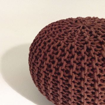 Handmade Round Knitted Pouf | Marsala (Color Of The Year 2015) | 50x35cm | GFURN