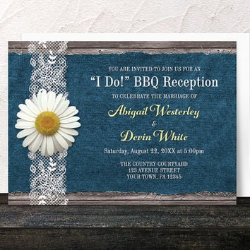I Do BBQ Reception Only Invitations - Daisy Denim and Lace Rustic Wood - Blue Yellow and Brown Post-Wedding Reception - Printed Invitations