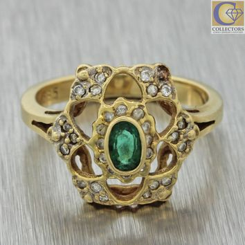 Franklin Mint Vintage Estate 14k Solid Yellow Gold .55ctw Emerald Diamond Ring