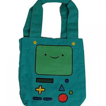 Adventure Time with Finn and Jake Beemo BMO Canvas Tote Cinch Shoulder Bag Purse