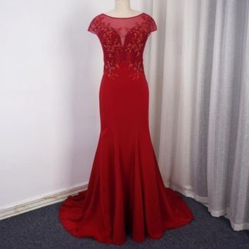 Short Cap Sleeve Illusion Back Mermaid Red Evening Dresses Luxury Beaded Delicate Lace