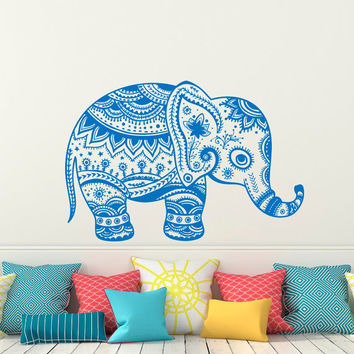 Indian Elephant Wall Decal Stickers- Elephant Yoga Wall Decals Indie Tribal Wall Art Bedroom Dorm Nursery Boho Bohemian Home Decor C080