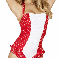 Sexy Red And White Polka Dot Pin Up Vintage One Piece Halter Swimsuit