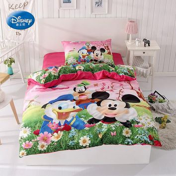 Mickey Mouse Donald Duck Bedding Set Children's Kids Bedroom Decor Single Twin Size Bed Sheets Quilt Duvet Covers 3pc Green Pink