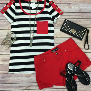 Striped 3 Button Sleeve Top: Red/Black