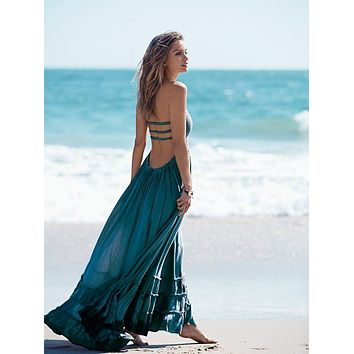 Boho chic halter chiffon long dress Women backless 2017 maxi dresses vestidos Sexy split beach summer dress beach wear mori girl