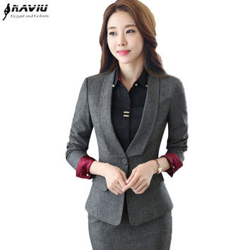 Spring autumn business formal pant suit women OL fashion long-sleeve blazer with pants office ladies plue size work wear clothes