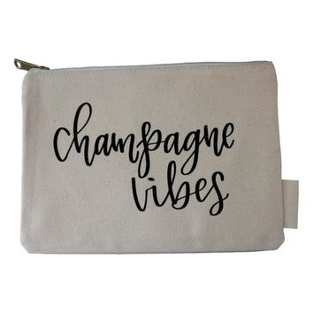 CHAMPAGNE VIBES CANVAS COSMETIC BAG