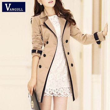 VANGULL Trench Coat For Women Fashion Turn-down Collar Double Breasted Contrast Color Long Coats Plus Size Casaco Feminino