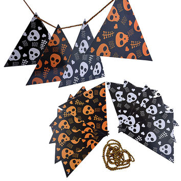 1pcs Halloween Props Skull Hanging Flags PE Paper Bunting Pennant Banner Garland Outdoor Indoor Home Party Halloween Decoration