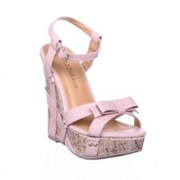 Small Stud Bow Ankle Strap Cork Wedge