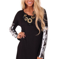 Black Dress with Sequin Tribal Print Sleeves