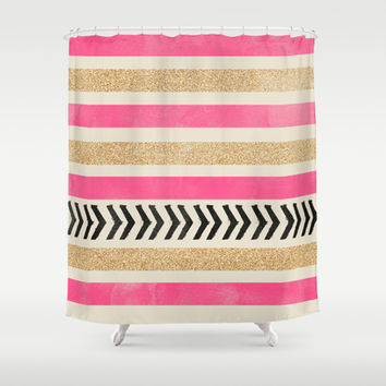 PINK AND GOLD STRIPES AND ARROWS Shower Curtain by Allyson Johnson