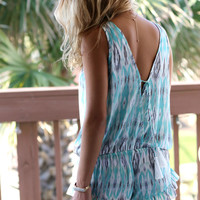 Ruffle Me Up Mint Printed Romper
