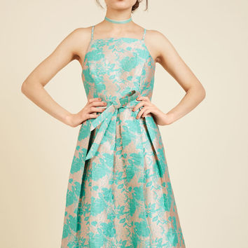 Penchant for Opulence A-Line Dress in Aqua Blossoms | Mod Retro Vintage Dresses | ModCloth.com