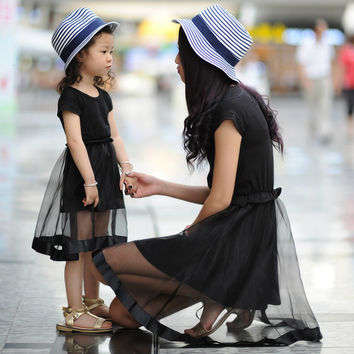 Summer Family Matching Clothes Black Lace Vintage Dress Mother Daughter Dresses Cotton Short Sleeve A-Line Girls Dress