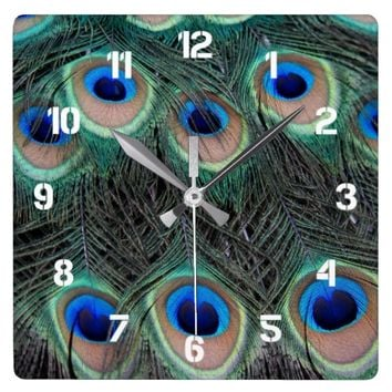 Peacock Feather Pattern Square Wall Clock