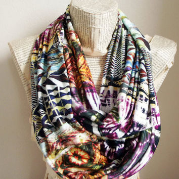 Aztec Colorful Tribal Chevron Geometric Infinity Scarf Circle Scarf Jersey Scarves Spring - Fall - Winter - Summer fashion