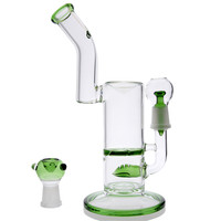 Grace Glass - Saxo Vapor Bubbler with Inline Slitted Diffuser & Turbine Disc Percolator - Green