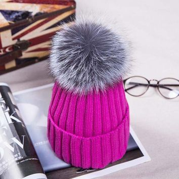 Gorgeous Russian Knit Pompom Hat. Winter Beanies. Silver Fox Fur Ball. Fabulous Quality, Warm!
