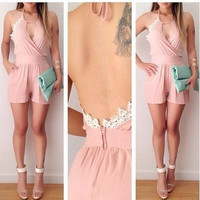 Pink backless sexy jumpsuits GG716CD