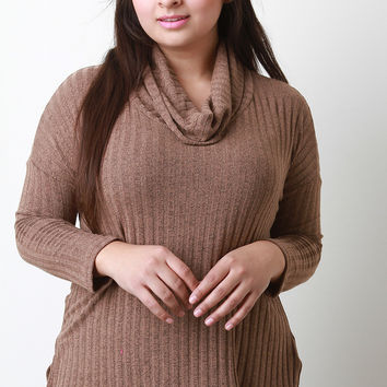 Cowl Neck Long Sleeves High Low Sweater Top